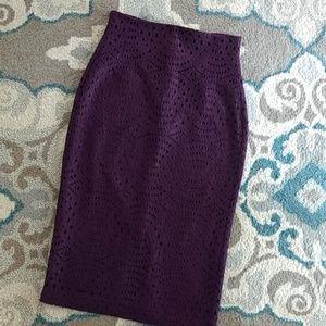 Eva Mendes Burgundy Plum Eyelet Pencil Skirt 2